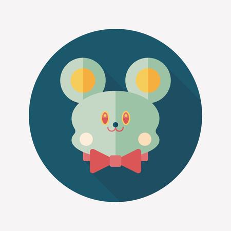 teddy bear flat icon with long shadow Vector