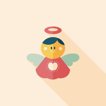 baby angel: angelo icona piatta con una lunga ombra, eps 10