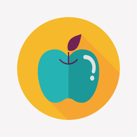 dieting: Apple flat icon with long shadow