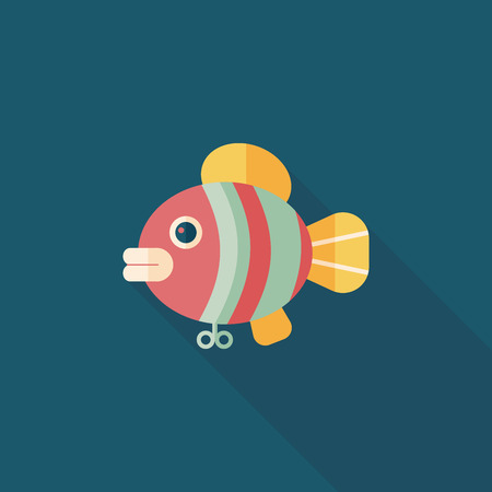 fish toy flat icon with long shadow,eps 10 Vector