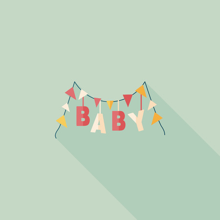 BABY party flat icon with long shadow,eps 10 Vector