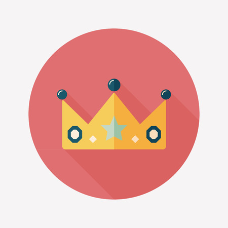 the aristocracy: crown flat icon with long shadow,eps10 Illustration