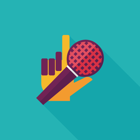 Microphone flat icon with long shadow,eps10 Vector