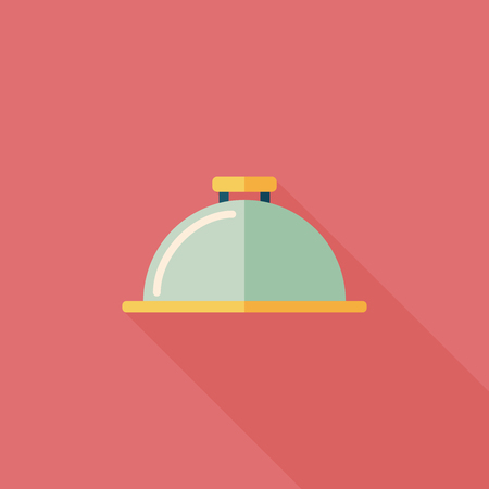 Restaurant cloche flat icon with long shadow,eps10 Vector