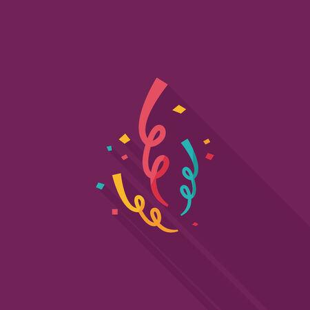 parade confetti: icono plana confeti con una larga sombra, eps10 Vectores