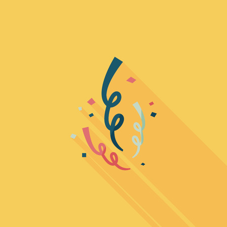 parade confetti: icono plano de confeti con una larga sombra, eps10 Vectores