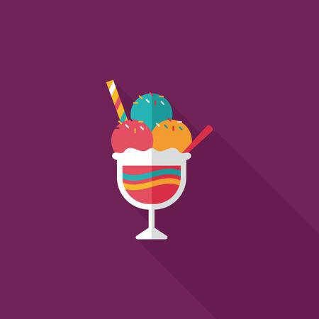 caramel sauce: ice cream flat icon with long shadow,eps10
