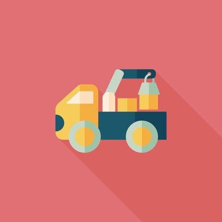 earthmoving: truck flat icon with long shadow,eps10 Illustration
