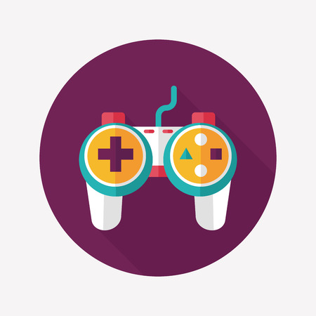 controller: Game controller flat icon with long shadow