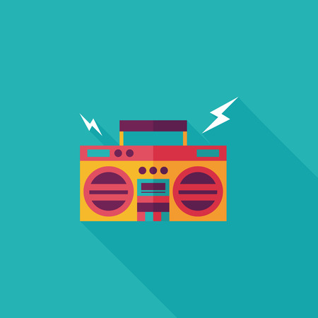 ghetto: ghetto blaster audio icona piatta con una lunga ombra, eps10 Vettoriali