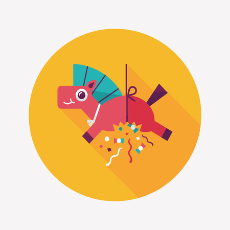 horse confetti flat icon with long shadow,eps10 Vector
