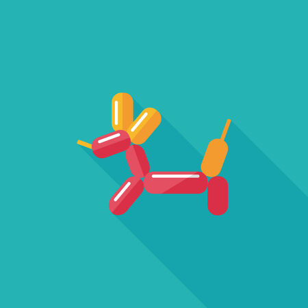 balloon dog flat icon with long shadow,eps10 Vector
