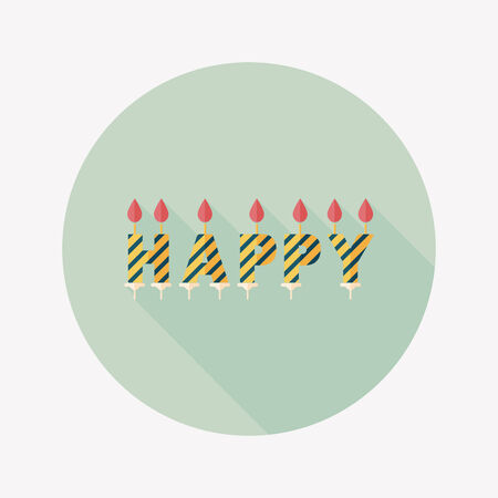Birthday candles flat icon with long shadow,eps10