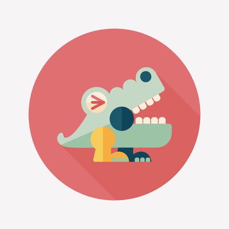 crocodile toy flat icon with long shadow,eps10 Illustration