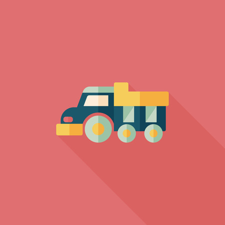 over sized: Dump truck flat icon with long shadow,eps10