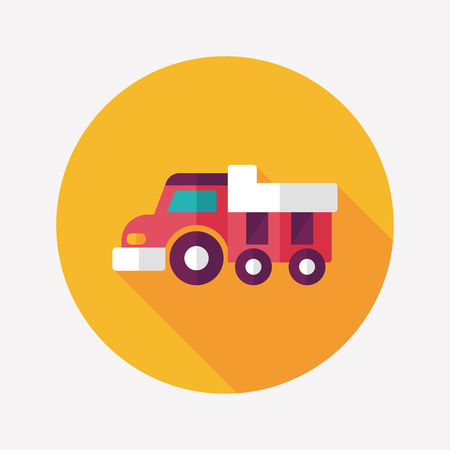 Dump truck flat icon with long shadow,eps10 Vector