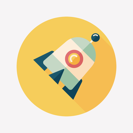 Rocket flat icon with long shadow,eps10 Vector