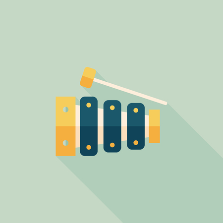 Xylophone flat icon with long shadow,eps10 Vector