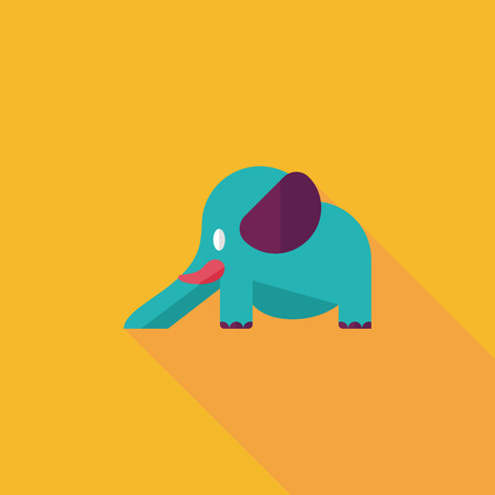 elephant slide flat icon with long shadow,eps10 Vector