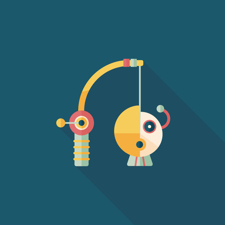 Fishing toy flat icon with long shadow,eps10 Vector