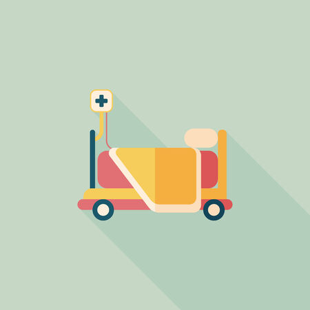hospital bed flat icon with long shadow Vector