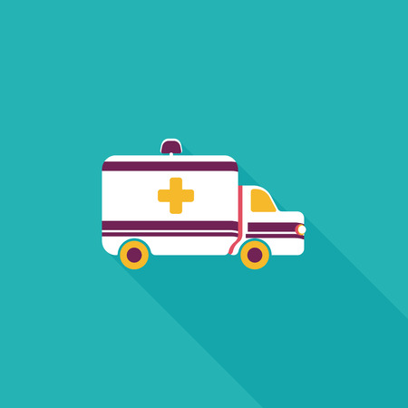 safety first: ambulance car flat icon with long shadow