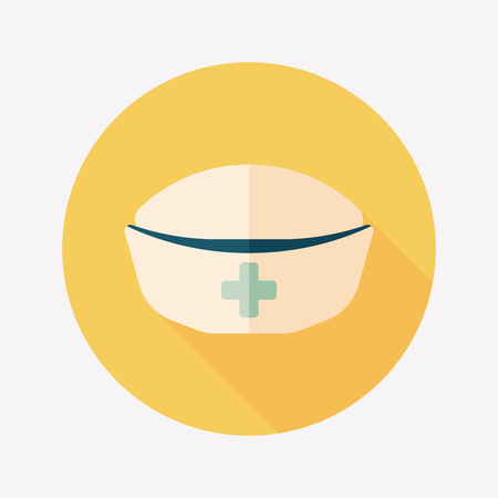 nursing clothes: NURSE HAT flat icon with long shadow Illustration