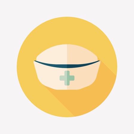 nursing clothes: NURSE HAT flat icon with long shadow Illustration