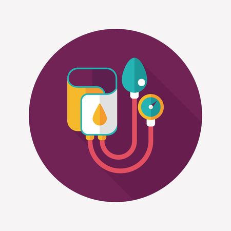 blood supply: Sphygmomanometer flat icon with long shadow