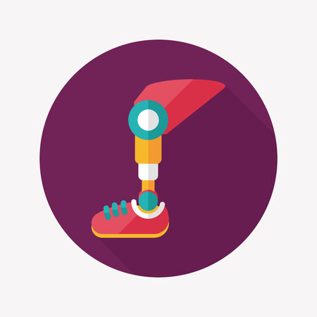 artificial leg: prosthetic leg flat icon with long shadow Illustration