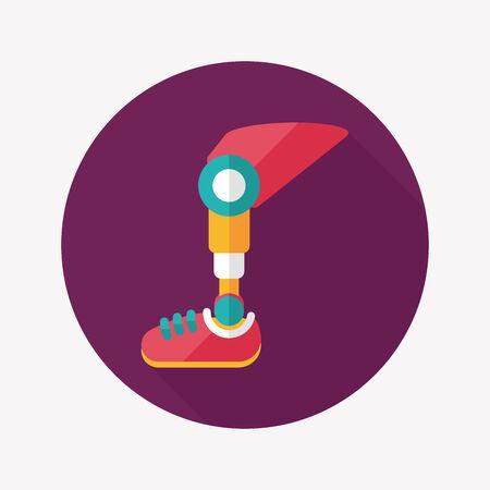legs stockings: protesico icona piatta gamba con una lunga ombra