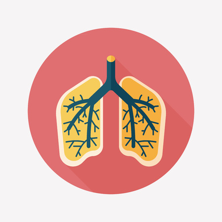 respire: Lungs flat icon with long shadow Illustration