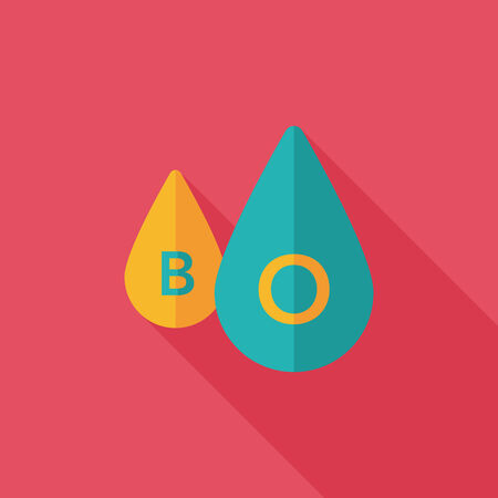 drop of blood: blood flat icon with long shadow Illustration