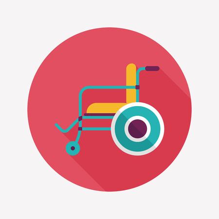 wheel chair: Wheelchair flat icon with long shadow