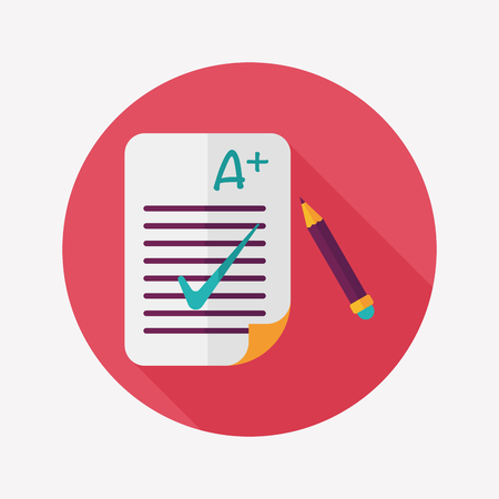 A plus grade in the notebook,flat icon with long shadow,eps10 Vector