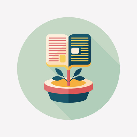 book tree flat icon with long shadow,eps10 Vector