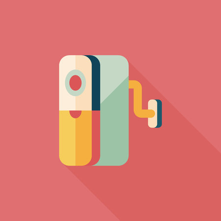 box cutter: Pencil sharpener flat icon with long shadow,eps10 Illustration