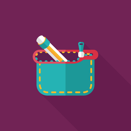 pencil box flat icon with long shadow,eps10 Vector