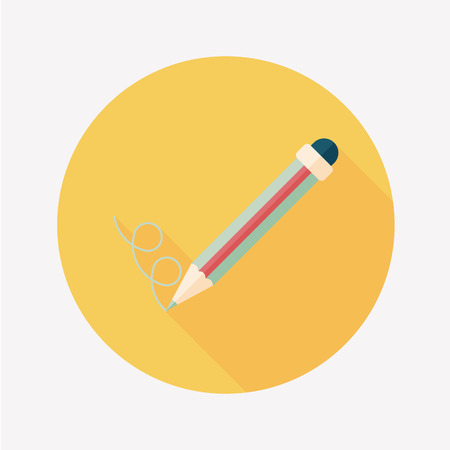 Pencil flat icon with long shadow,eps10 Vector