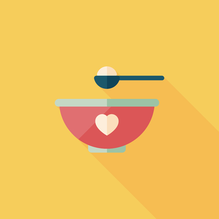 baby food bowl flat icon with long shadow,eps10 Illustration