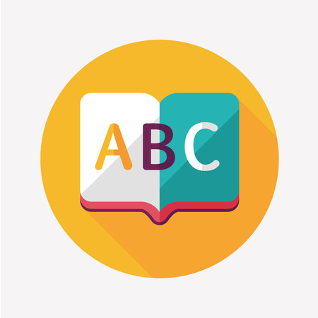 Dictionary book flat icon with long shadow,eps10 Vector