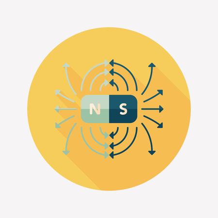 weerzinwekkend: magnetische velden vlakke icoon met lange schaduw, eps10