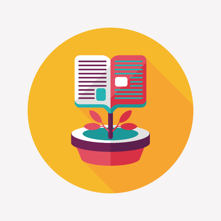 grammatical: book tree flat icon with long shadow,eps10 Illustration