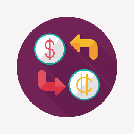 Currency exchange flat icon with long shadow Vector