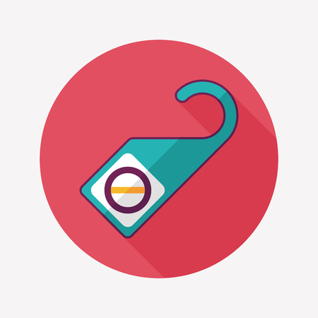 quiet room: Do Not Disturb Sign, flat icon with long shadow Illustration