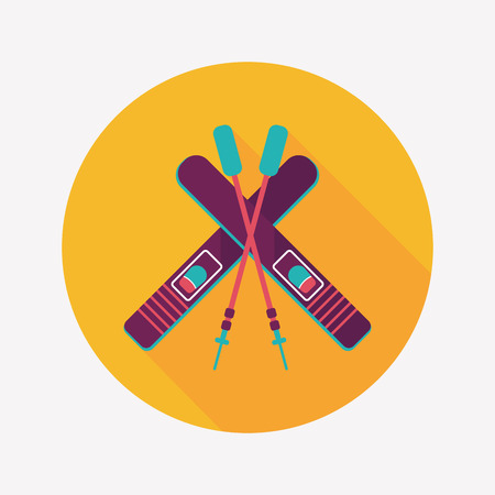 ski and sticks flat icon with long shadow Vector