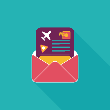 mail Air ticket flat icon with long shadow Vector