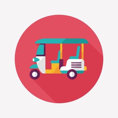 tuk: Three wheeled motor rickshaw, flat icon with long shadow