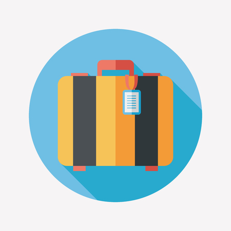 old suitcase: vintage travel suitcases, flat icon with long shadow