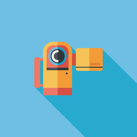 vcr: Video camera flat icon with long shadow